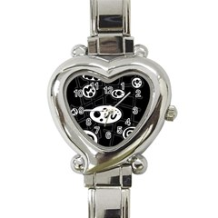 Black and white crazy abstraction  Heart Italian Charm Watch