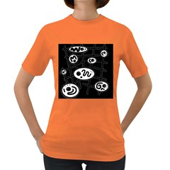 Black and white crazy abstraction  Women s Dark T-Shirt