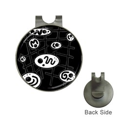 Black and white crazy abstraction  Hat Clips with Golf Markers