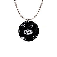 Black and white crazy abstraction  Button Necklaces