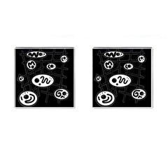Black and white crazy abstraction  Cufflinks (Square)
