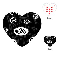 Black and white crazy abstraction  Playing Cards (Heart)