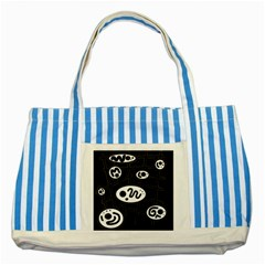 Black and white crazy abstraction  Striped Blue Tote Bag