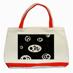 Black and white crazy abstraction  Classic Tote Bag (Red)