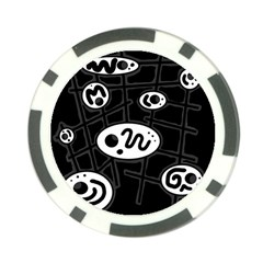 Black and white crazy abstraction  Poker Chip Card Guards