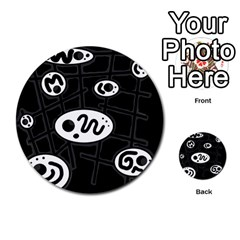 Black and white crazy abstraction  Multi-purpose Cards (Round)