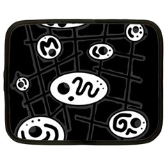 Black and white crazy abstraction  Netbook Case (Large)