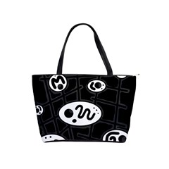 Black and white crazy abstraction  Shoulder Handbags