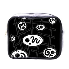 Black and white crazy abstraction  Mini Toiletries Bags
