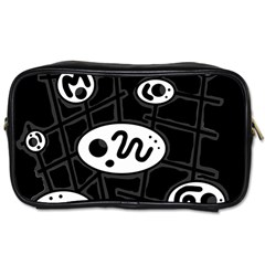 Black and white crazy abstraction  Toiletries Bags 2-Side