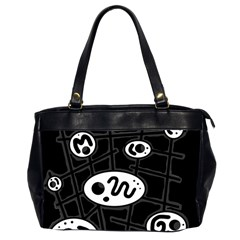 Black and white crazy abstraction  Office Handbags (2 Sides)