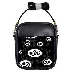 Black and white crazy abstraction  Girls Sling Bags