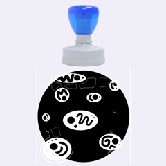 Black and white crazy abstraction  Rubber Round Stamps (Large)