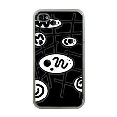 Black and white crazy abstraction  Apple iPhone 4 Case (Clear)