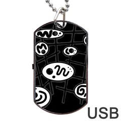 Black and white crazy abstraction  Dog Tag USB Flash (Two Sides)
