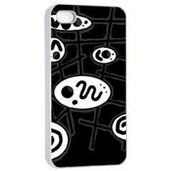 Black and white crazy abstraction  Apple iPhone 4/4s Seamless Case (White)