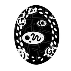 Black and white crazy abstraction  Ornament (Oval Filigree)