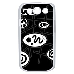 Black and white crazy abstraction  Samsung Galaxy S III Case (White)