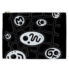 Black and white crazy abstraction  Cosmetic Bag (XXL)