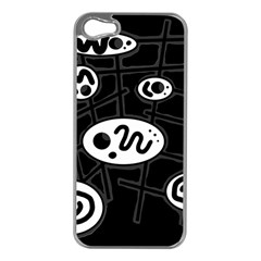 Black and white crazy abstraction  Apple iPhone 5 Case (Silver)