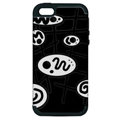 Black and white crazy abstraction  Apple iPhone 5 Hardshell Case (PC+Silicone)