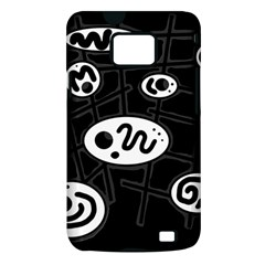 Black and white crazy abstraction  Samsung Galaxy S II i9100 Hardshell Case (PC+Silicone)