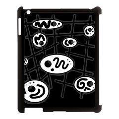 Black and white crazy abstraction  Apple iPad 3/4 Case (Black)