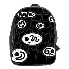 Black and white crazy abstraction  School Bags (XL)