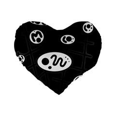 Black and white crazy abstraction  Standard 16  Premium Heart Shape Cushions