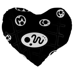 Black and white crazy abstraction  Large 19  Premium Heart Shape Cushions