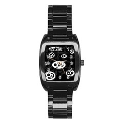 Black and white crazy abstraction  Stainless Steel Barrel Watch