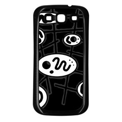 Black and white crazy abstraction  Samsung Galaxy S3 Back Case (Black)