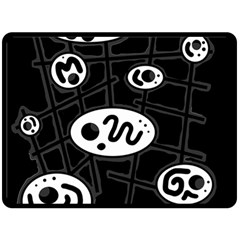 Black and white crazy abstraction  Double Sided Fleece Blanket (Large)