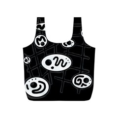 Black and white crazy abstraction  Full Print Recycle Bags (S)