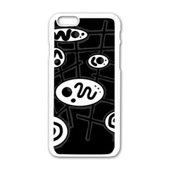 Black and white crazy abstraction  Apple iPhone 6/6S White Enamel Case