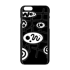 Black and white crazy abstraction  Apple iPhone 6/6S Black Enamel Case