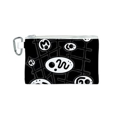 Black and white crazy abstraction  Canvas Cosmetic Bag (S)