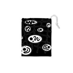 Black and white crazy abstraction  Drawstring Pouches (XS)