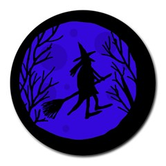 Halloween witch - blue moon Round Mousepads
