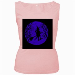 Halloween witch - blue moon Women s Pink Tank Top