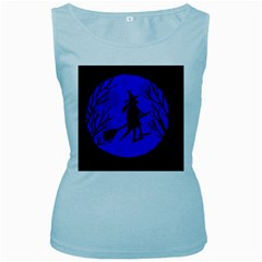 Halloween witch - blue moon Women s Baby Blue Tank Top