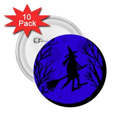 Halloween witch - blue moon 2.25  Buttons (10 pack)