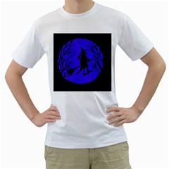 Halloween witch - blue moon Men s T-Shirt (White) (Two Sided)