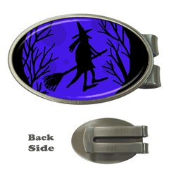 Halloween witch - blue moon Money Clips (Oval)
