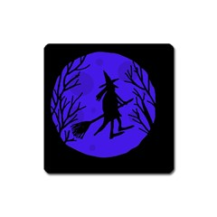 Halloween witch - blue moon Square Magnet