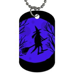 Halloween witch - blue moon Dog Tag (One Side)