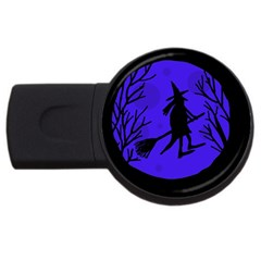 Halloween witch - blue moon USB Flash Drive Round (1 GB)