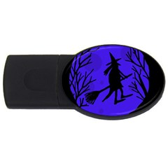 Halloween witch - blue moon USB Flash Drive Oval (1 GB)