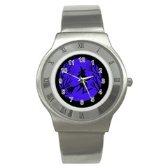 Halloween witch - blue moon Stainless Steel Watch