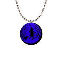 Halloween witch - blue moon Button Necklaces